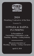 Sowada & Barna Plumbing Plumber of the Year